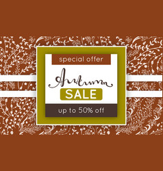 autumn sale discount in fall floral pattern vector image