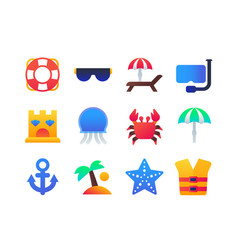 beach holiday - set flat design style icons vector image