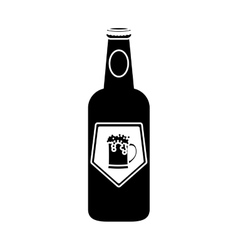 black bottle of beer icon design vector image