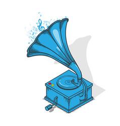Blue vintage gramophone vector