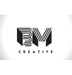 bm logo letter with black lines design line letter vector image