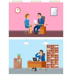 Boss in office interviewing new woman worker job vector