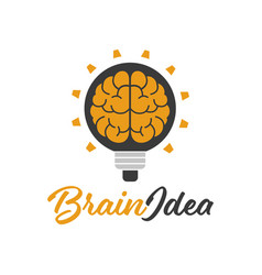 brain idea lamp design logo template vector image