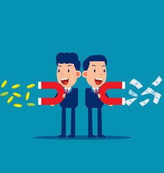 business people use a magnet to attract money vector image