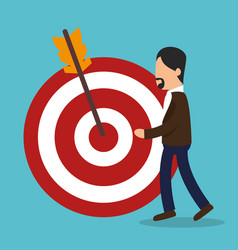 Business people with target arrow training icon vector