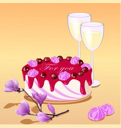 Cake two glasses and vector