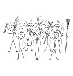 Cartoon angry mob stick characters with tools vector