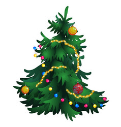Cartoon christmas tree with decorations isolated vector