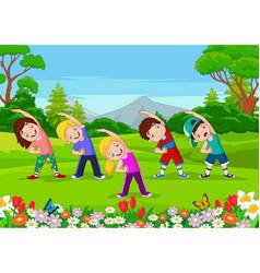 cartoon little kids exercising in park vector image