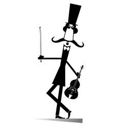 cartoon long mustache violinist vector image
