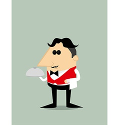 Cartoon waiter vector image