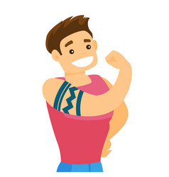 Caucasian white man with a tattoo showing biceps vector