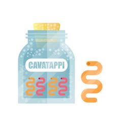 Cavatappi dry pasta in a transparent glass vector