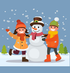 children build snowman vector image