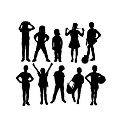 Children kids silhouette set vector