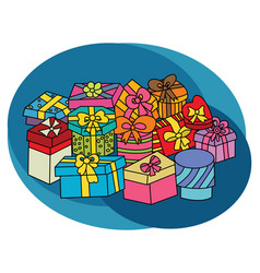 christmas gift boxes design set vector image