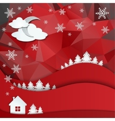 Christmas greeting card on winter landscape vector image