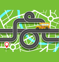 City map with school bus on road and destination vector
