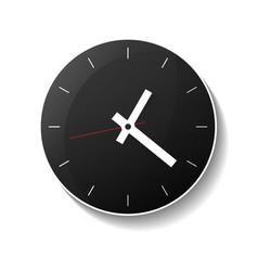 Classic round black wall clock icon vector