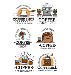 Coffee cups and beans icons vector