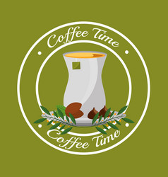 Coffee time teabag and grins leaves label vector
