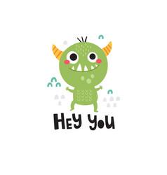 Cute a green monster vector