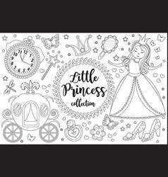 cute little princess cinderella set coloring book vector image