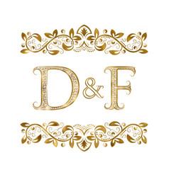 D and f vintage initials logo symbol letters vector