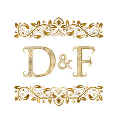 d and f vintage initials logo symbol the letters vector image