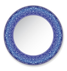 Dark blue decorative plate with pattern vector