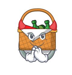 Devil picnic basket mascot cartoon vector