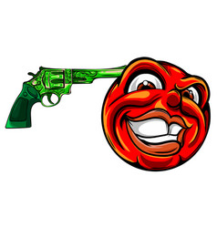 emoticon pointing a gun on his head vector image