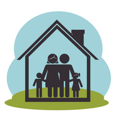 family members on house silhouette characters vector image
