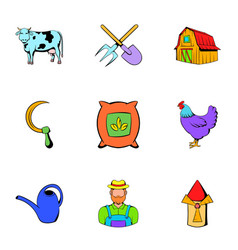 Farm icons set cartoon style vector
