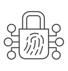 Fingerprint with lock thin line icon finger scan vector