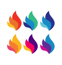 fire flame colorful logo symbol vector image