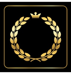 Gold laurel wreath black vector
