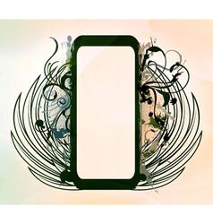 grunge floral frame vector image vector image
