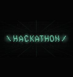 Hackathon 8 bit green glitch title on laser grid vector