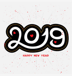 happy new year 2019 - hand drawn lettering for vector image