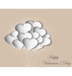 Hearts on Valentine Day with butterflies vector