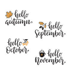 Hello autumn calligraphy set vector