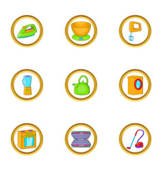 Home appliances icon set cartoon style vector