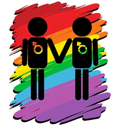 Homosexual love with rainbow background vector
