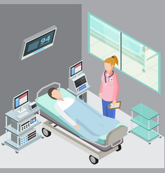 hospital ward isometric composition vector image