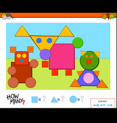 How many shapes educational task for kids vector