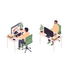 isometric online education man sitting vector image