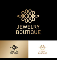 Jewelry boutique logo gold ornament like lace vector