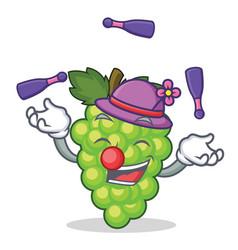juggling green grapes mascot cartoon vector image