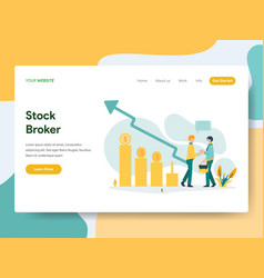 landing page template stock broker concept vector image